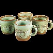 Vintage Frankoma - 4 Mayan-Aztec Coffee Cups in Prairie Green Glaze
