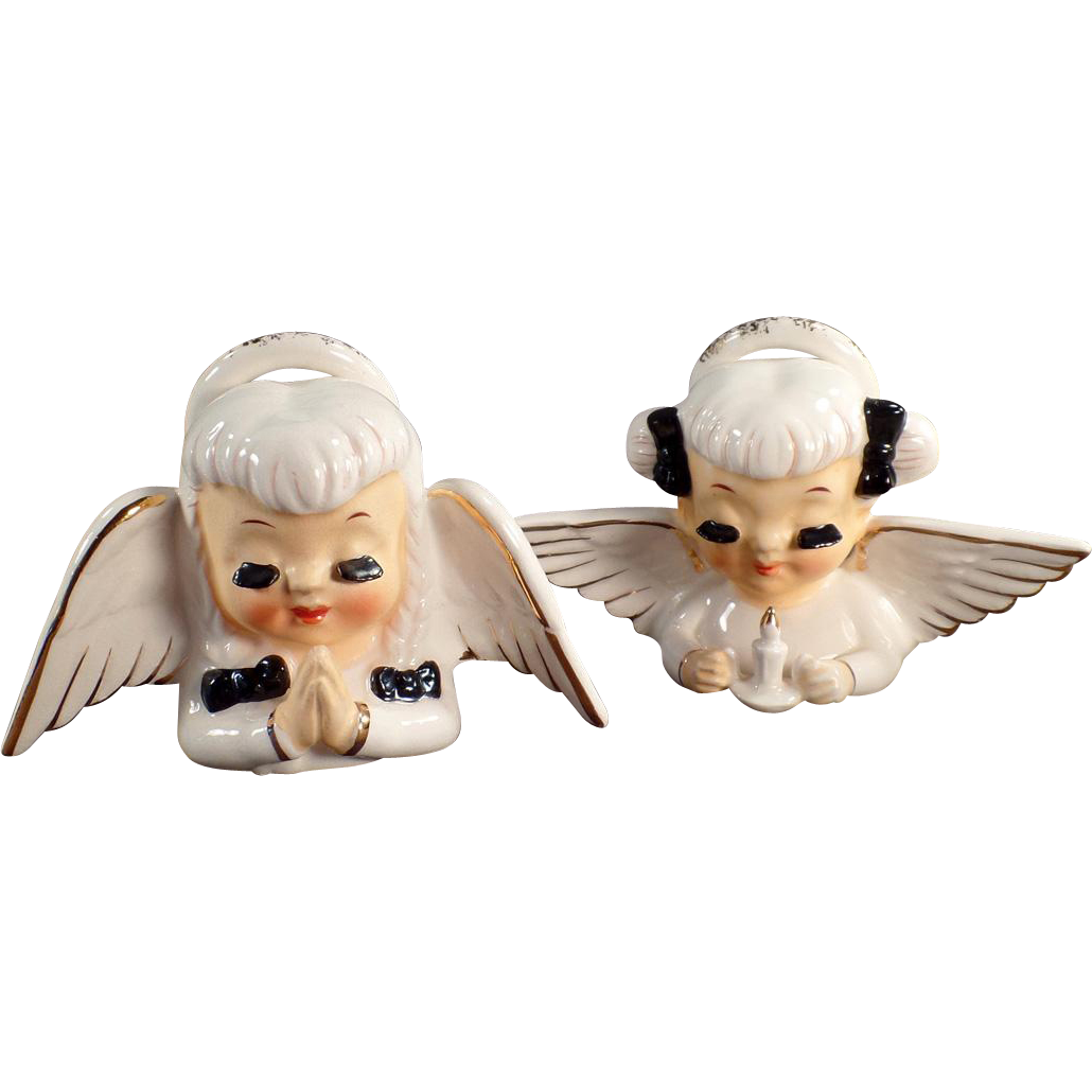 Pair of Vintage Porcelain Angel Busts - Long Eyelashes and Very Sweet