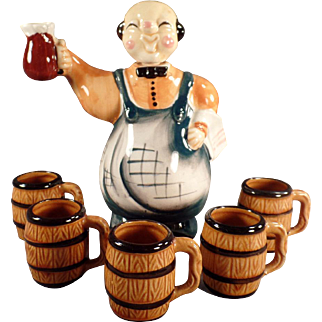Vintage Liquor Decanter- Happy Bartender with Small Mugs