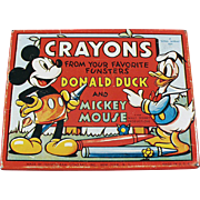 Vintage Crayon Tin - Mickey Mouse & Donald Duck Crayons Box