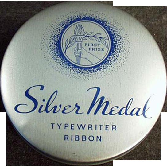 Vintage Typewriter Ribbon Tin - Silver Medal