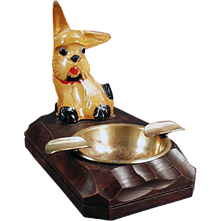 Vintage Ashtray - Mid Century Carved Wood Dog