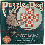 Vintage Puzzle Peg Game Box with Nice Owl Graphics