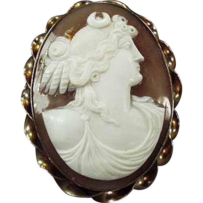 Vintage Carved Shell Cameo Brooch - Grecian Goddess - Early 1900's