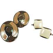 Vintage Costume Jewelry Earrings - Clip-on Style in Brown Tones - 2 Pair