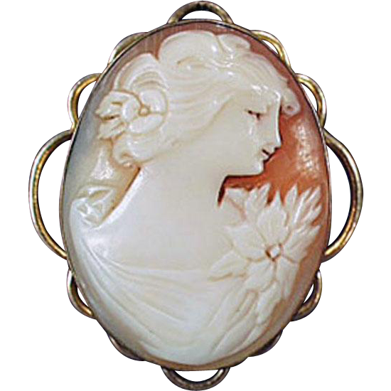 Vintage Carved Shell Cameo Picture Locket Pendant