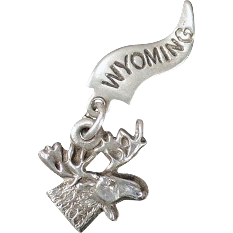 Vintage Sterling Silver Charm – Moose – Souvenir of Wyoming