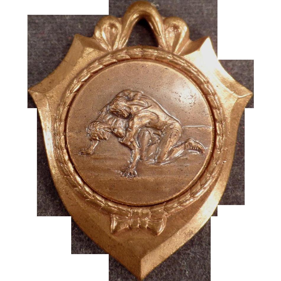 Vintage Sports Medal - Nicely Detailed Wrestling Image