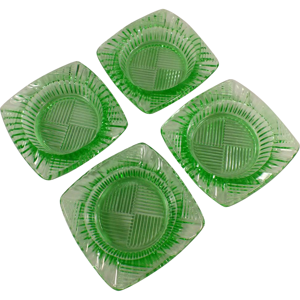 Vintage Glass Ashtrays - Green - Set of Four - Geometric Pattern
