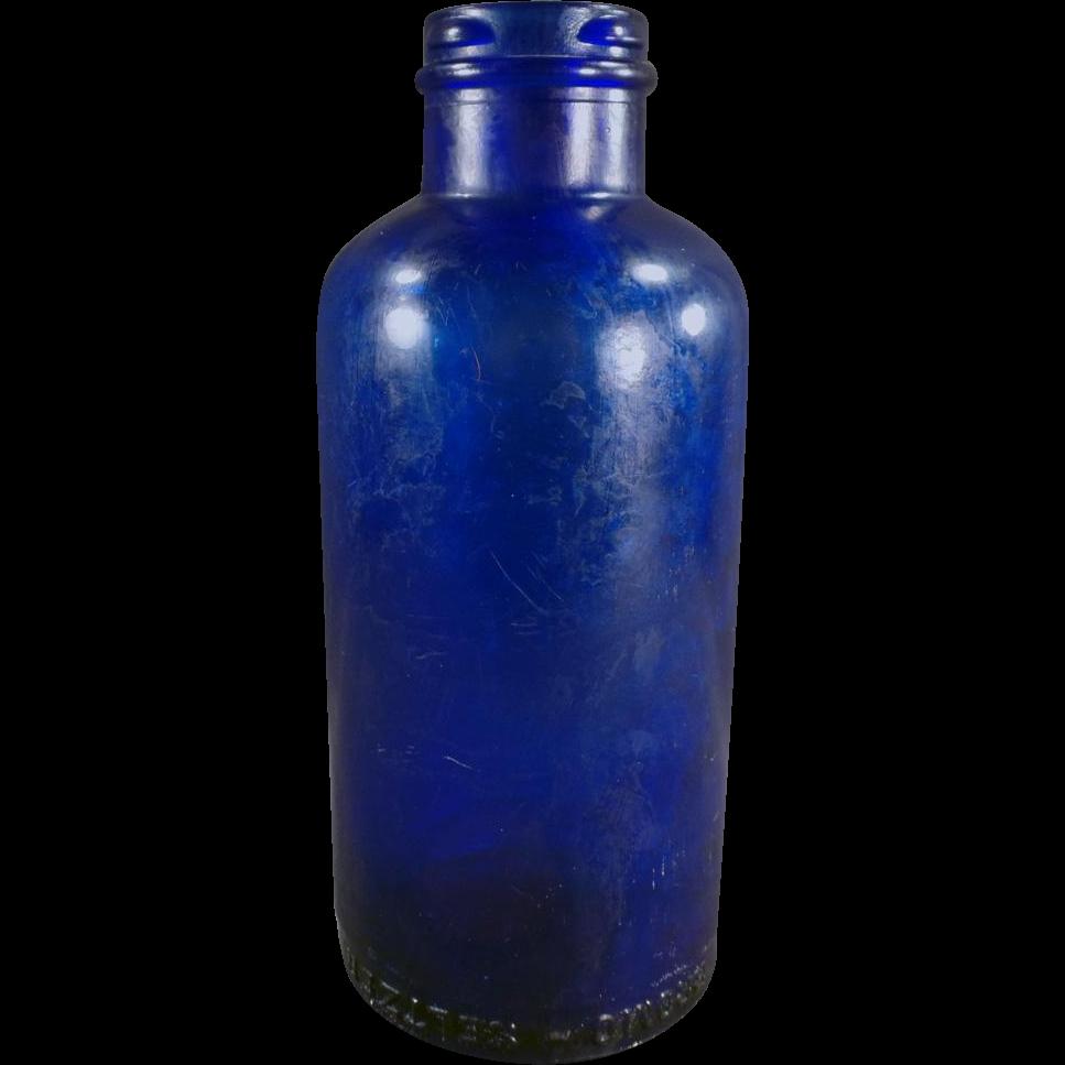 Vintage Bromo-Seltzer Dispensing Bottle - Cobalt Blue