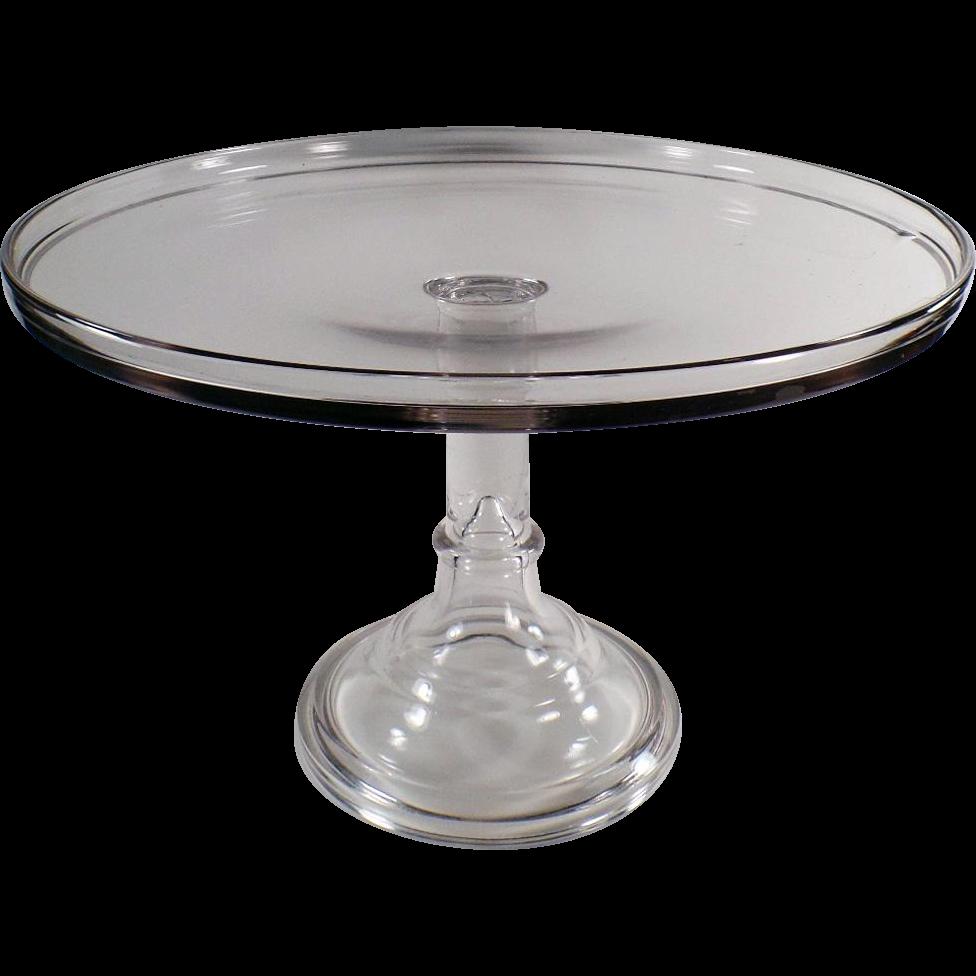 Vintage Glass Pedestal Cake Plate - Large Size - 14 inch