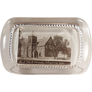 Vintage Glass Paperweight - First Methodist Church - Cheyenne, Wyoming