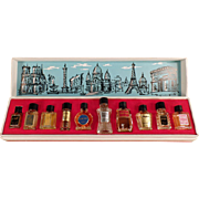 Vintage Mini Perfume Bottles - Les Grands Parfums de France - 10 Miniature Perfume Bottles in Box