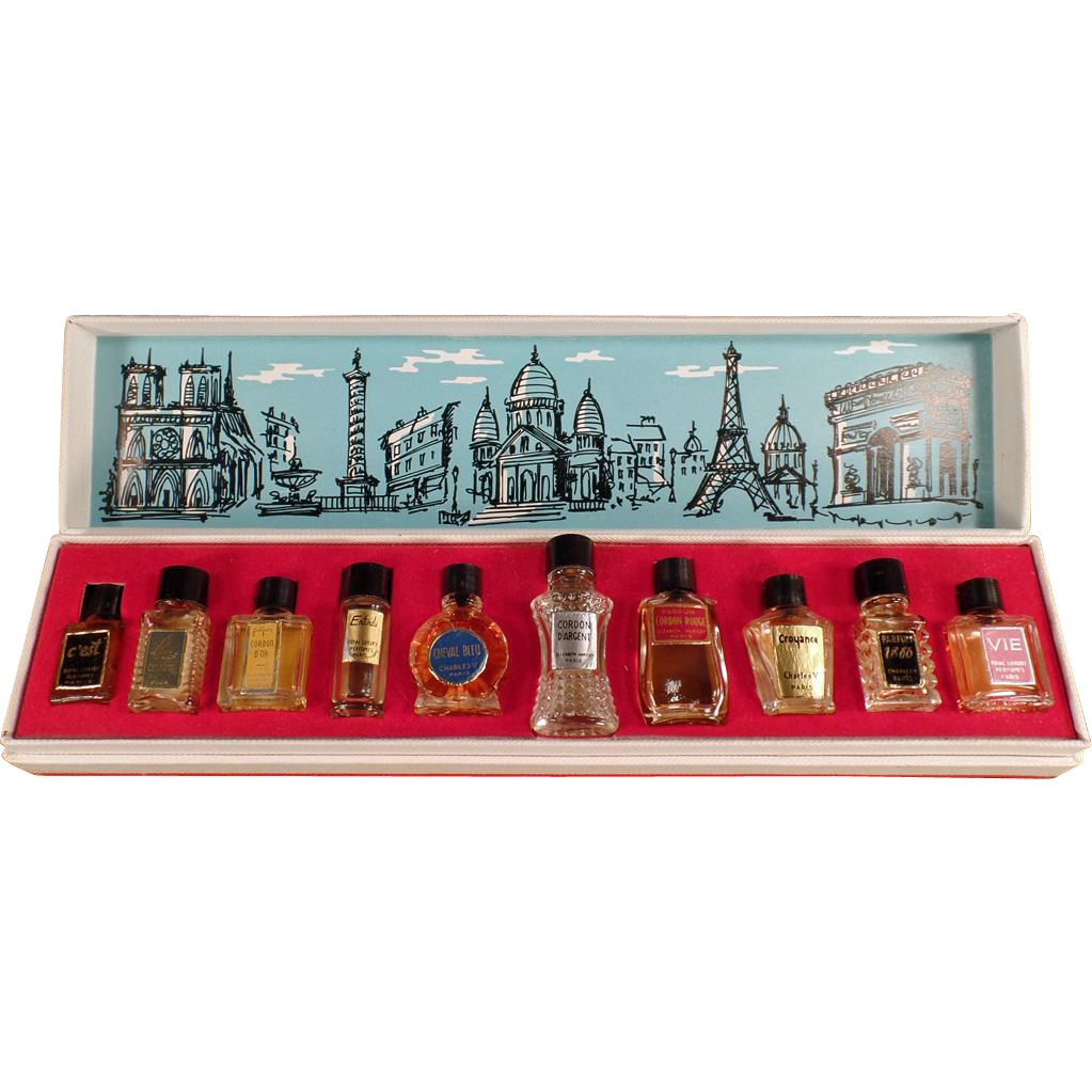 Vintage Mini Perfume Bottles - Les Grands Parfums de France - 10 Miniature Perfume Bottles in Box