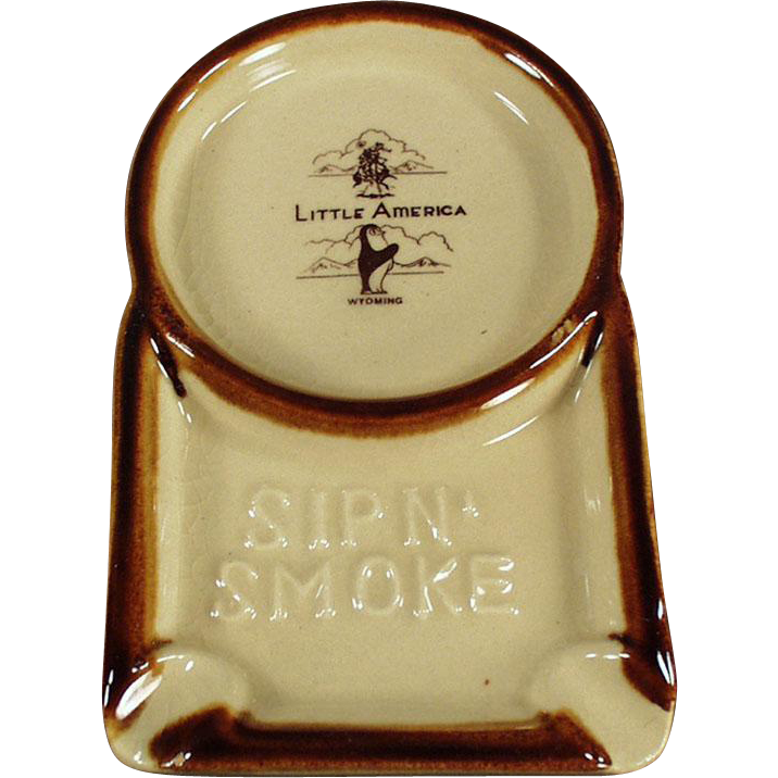 Vintage Little America Advertising Ashtray with Attached Coffee Cup Coaster