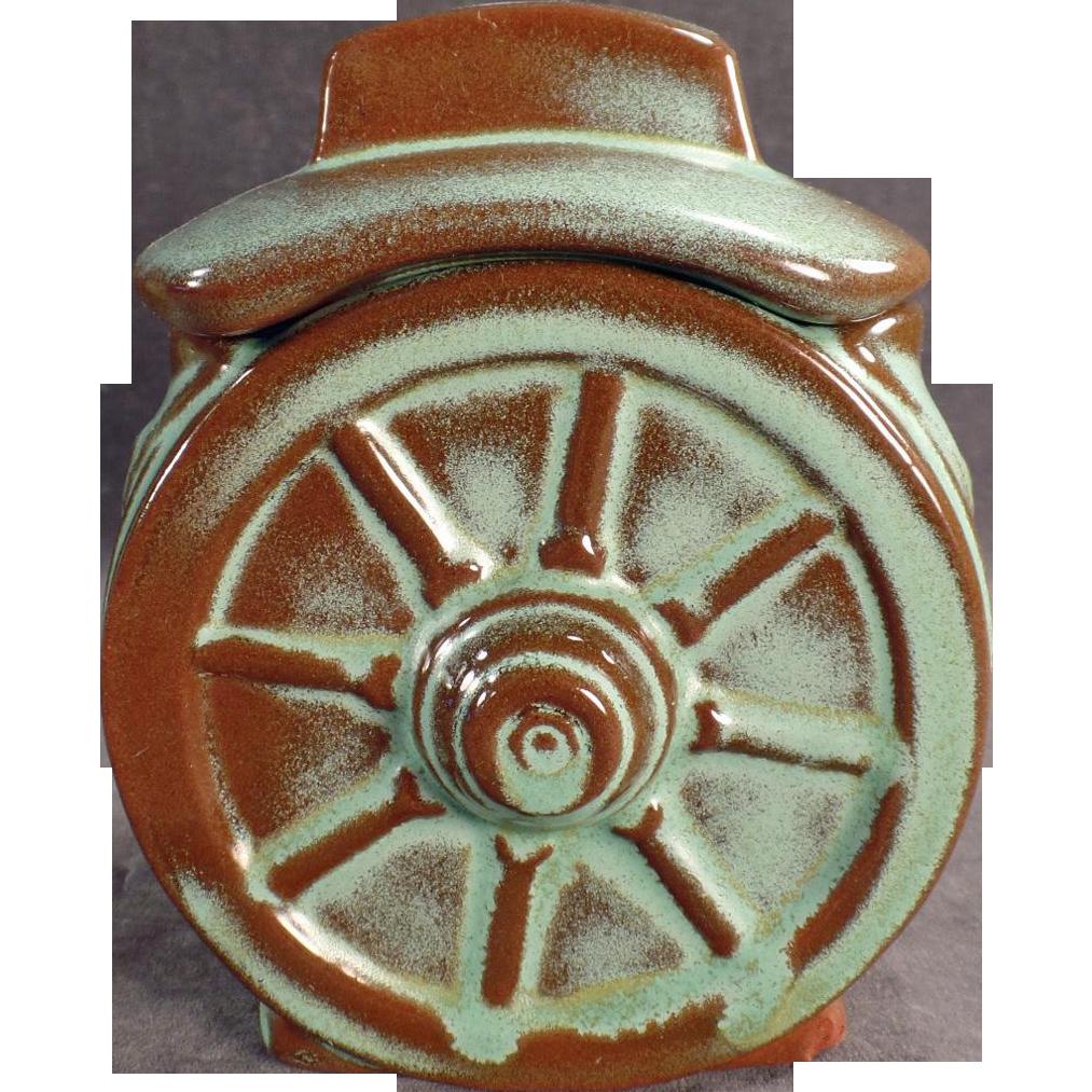 Vintage Frankoma - Wagon Wheel Sugar Bowl with Lid - Green Glaze