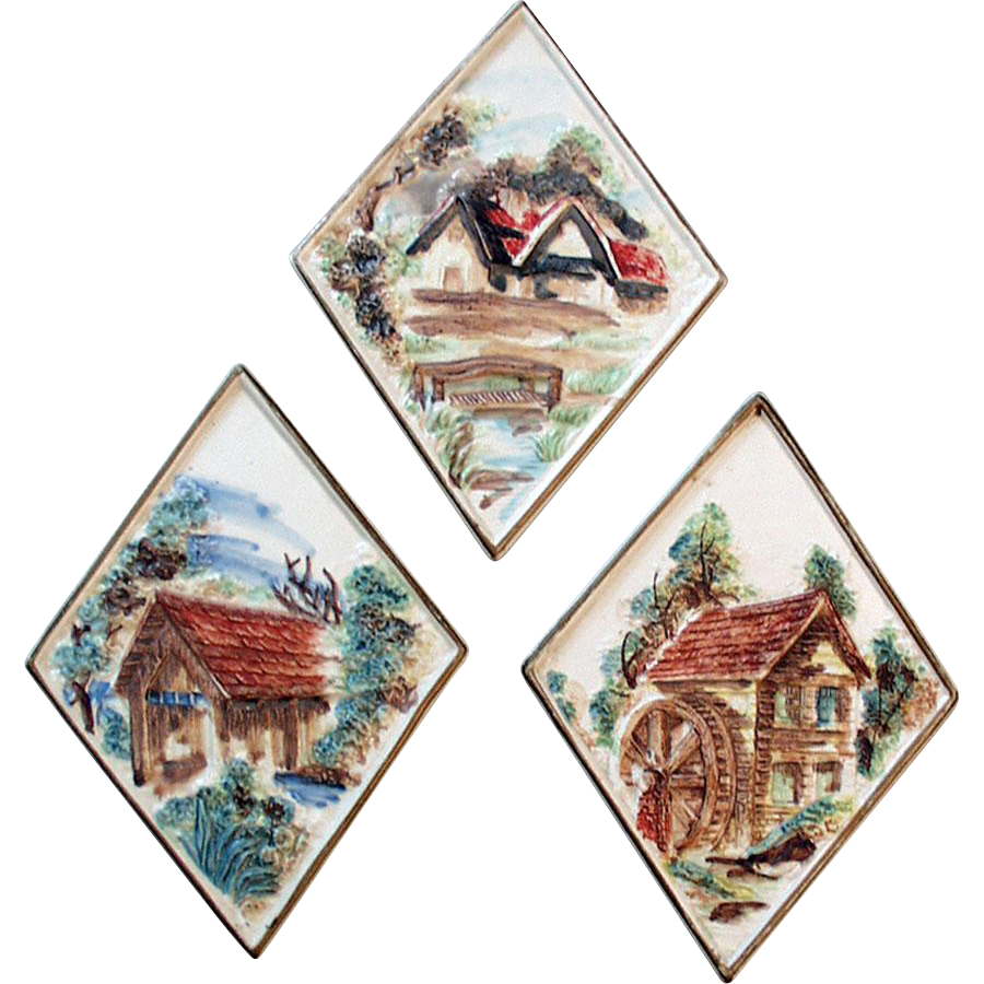 Vintage Lefton Porcelain Plaques with Quaint Scenes - Set of Three