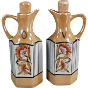 Vintage Oil & Vinegar Cruet Set - Floral Lusterware