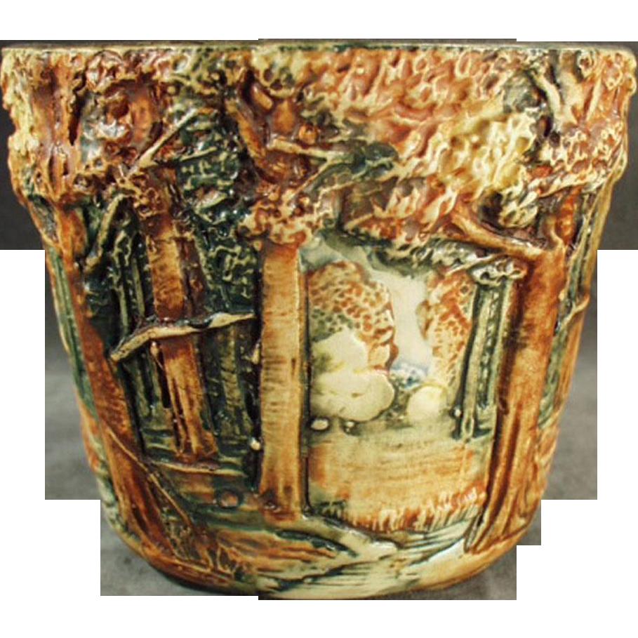 Vintage Weller Art Pottery - Small Jardinière in Forest Line