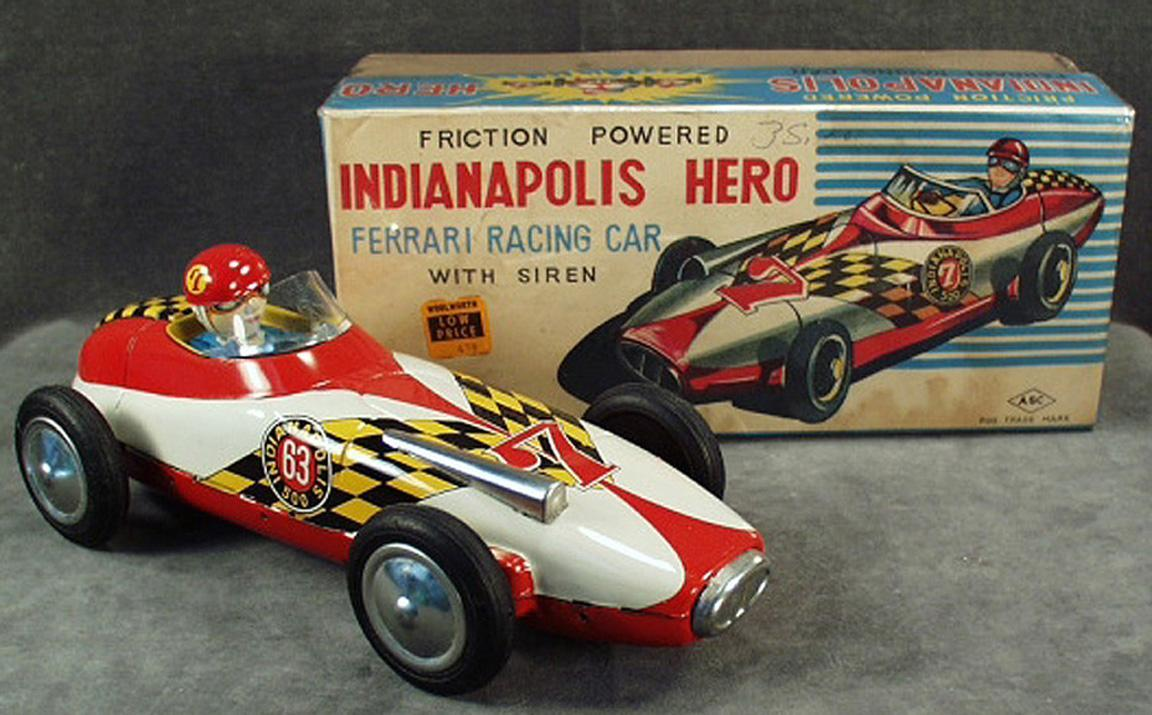 Vintage Ferrari Race Car Toy With Original Box Indianapolis Hero