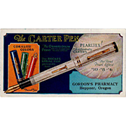 Vintage Ink Blotter Advertising Carter Pearltex Pen