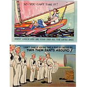 Two Old Humorous Postcards - Funny Military Scenes - Colorful and Never Used