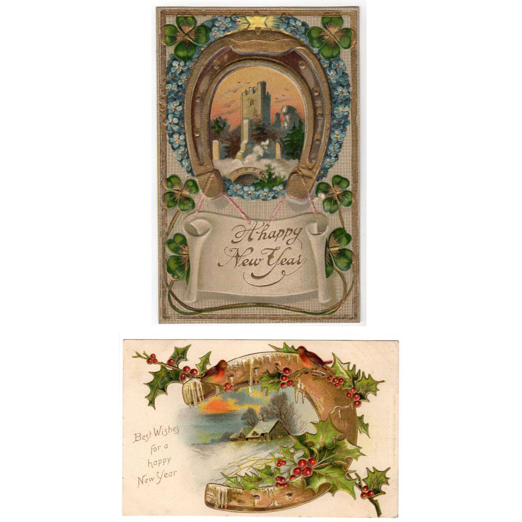Two Vintage New Years Postcards - Greetings with Horseshoe Designs