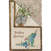Vintage Birthday Postcard - Dried Flowers & Embossed Design