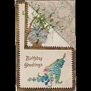 Vintage Birthday Postcard - Dried Flowers & Embossed Design