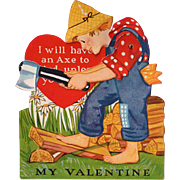 Vintage Mechanical Valentine - Boy Chopping Wood