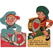 Two Vintage Mechanical Valentines with Cute Boys