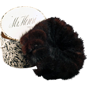 Vintage Mink Pillbox Hat with Original Box – Mr. Henri Creation – Marshall Field