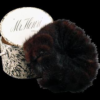 Vintage Mink Pillbox Hat with Original Box – Mr. Henri Creation – Marshall Field