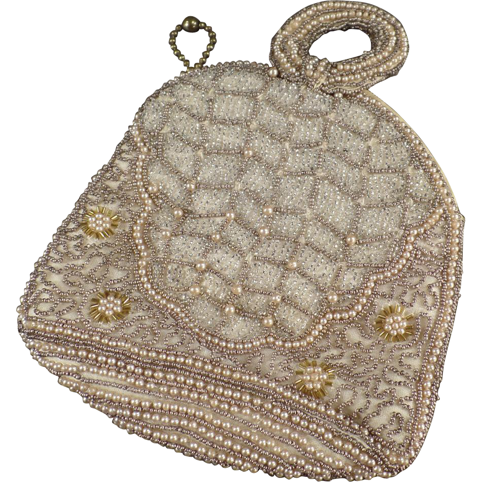 Vintage Seed Bead Evening Bag - Pretty Little Purse - 1920's or early 1930's