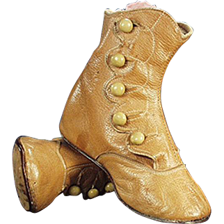 Vintage Five Button Baby Shoes - Tan Colored Leather
