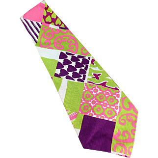 Men's Vintage Necktie - Wide and Wild - Vividly Colored - Hand Made & Labeled