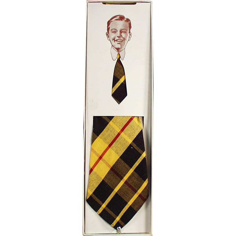 Boy's Vintage Necktie - Colorful Plaid from J.C. Penney
