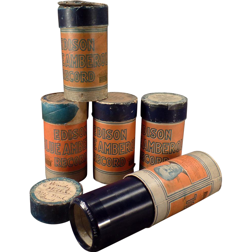 Vintage Cylinder Phonograph Records - Edison Blue Amberol - Lot of Five