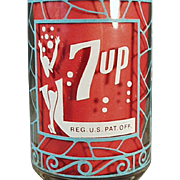 Vintage 7-Up Advertising Glass - Unusual Design and Color