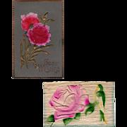 Two  Vintage Postcards - Embossed Floral Designs - Germany