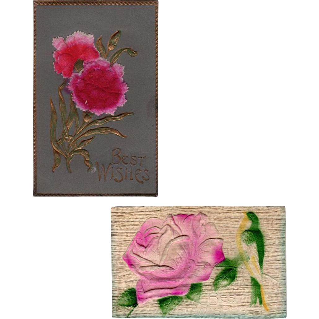 Two  Vintage Postcards - Embossed Floral Designs - Germany