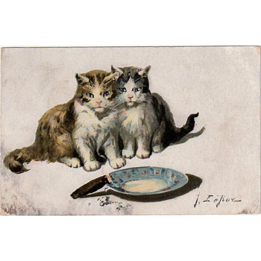 Vintage Postcard - Jules LeRoy - Kittens with Cigar - 1910