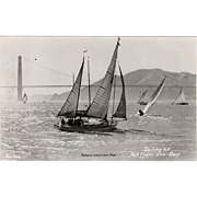 Vintage Photograph Postcard - Sail Boats on San Francisco Bay