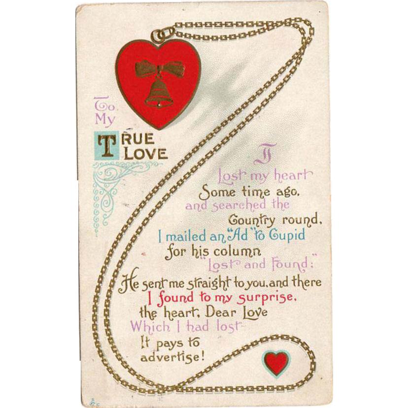 Vintage Valentine Postcard - Cute Poem - 1915
