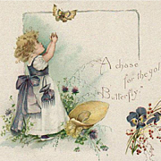 Vintage Trade Card - Garland Stove with a Little Girl and Butterfly