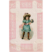 Vintage Trade Card - Lion Coffee with Little Girl Dressed in Blue