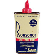 Vintage Lighter Fluid Tin - Ronsonol Lighter Fuel