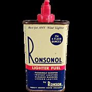Vintage Lighter Fluid Tin - Ronsonol Lighter Fuel