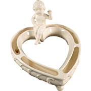 Vintage Heart Shaped Flower or Posey Ring with Seated Cherub