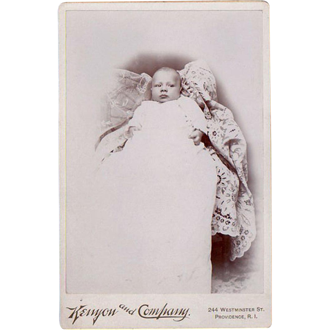 Vintage Cabinet Card Photograph - 1800's Baby in Christening Gown